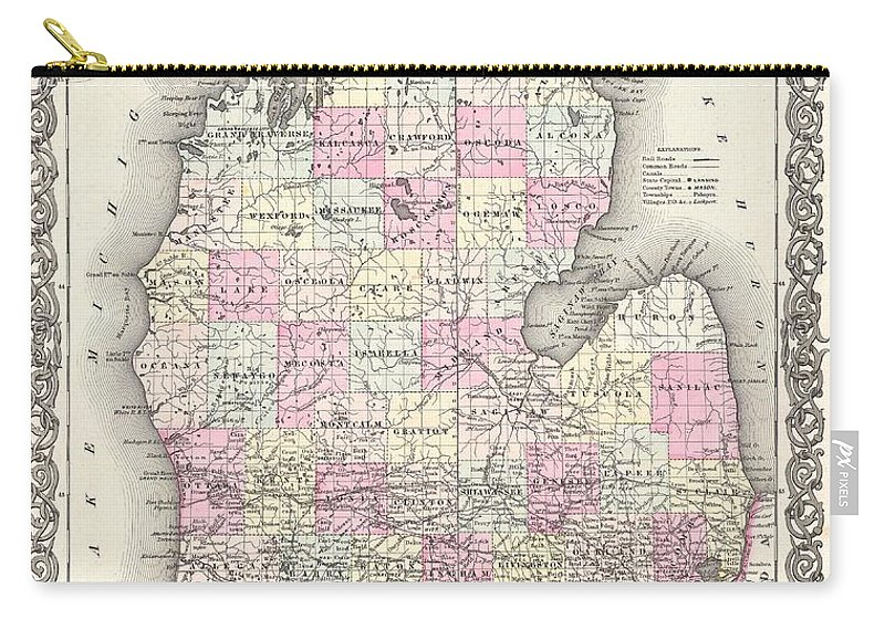 Antique Map Of Michigan Carry-all Pouch featuring the drawing Antique Maps - Old Cartographic Maps - Antique Map Of Michigan, 1855 by Studio Grafiikka