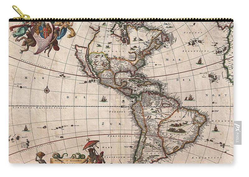 Antique Map Of North America Carry-all Pouch featuring the drawing Antique Maps - Old Cartographic maps - Antique Map of North and South America, 1658 by Studio Grafiikka