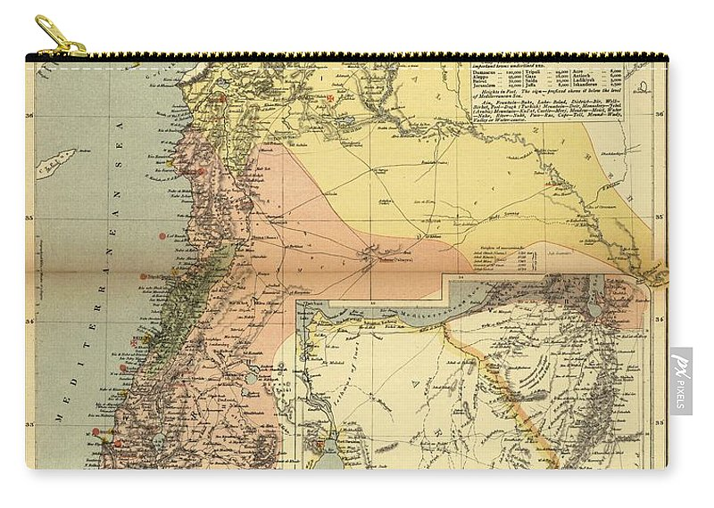 Antique Map Of Syria Carry-all Pouch featuring the drawing Antique Maps - Old Cartographic Maps - Antique Map Of Syria, 1884 by Studio Grafiikka