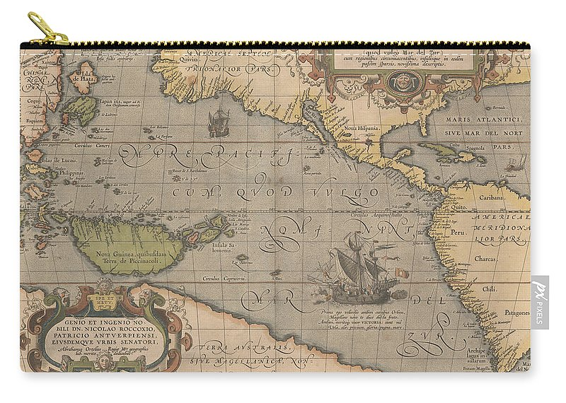 Antique Map Of The Pacific Ocean Carry-all Pouch featuring the drawing Antique Maps - Old Cartographic Maps - Antique Map Of The Pacific Ocean - Mar Del Zur, 1589 by Studio Grafiikka