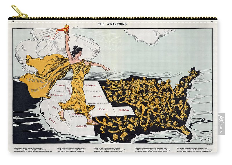 Antique Map Of The United States Of America Carry-all Pouch featuring the drawing Antique Map Of The United States Of America - The Spirit Of Liberty - The Awakening, 1915 by Studio Grafiikka