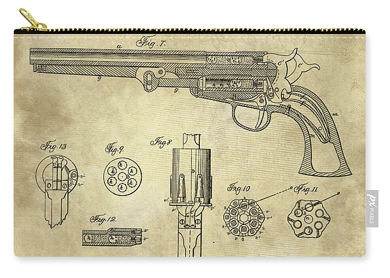Antique revolver blueprint hand gun patent drawing plan from 1859 1859 carry all pouch featuring the drawing antique revolver blueprint hand gun patent drawing plan malvernweather Images