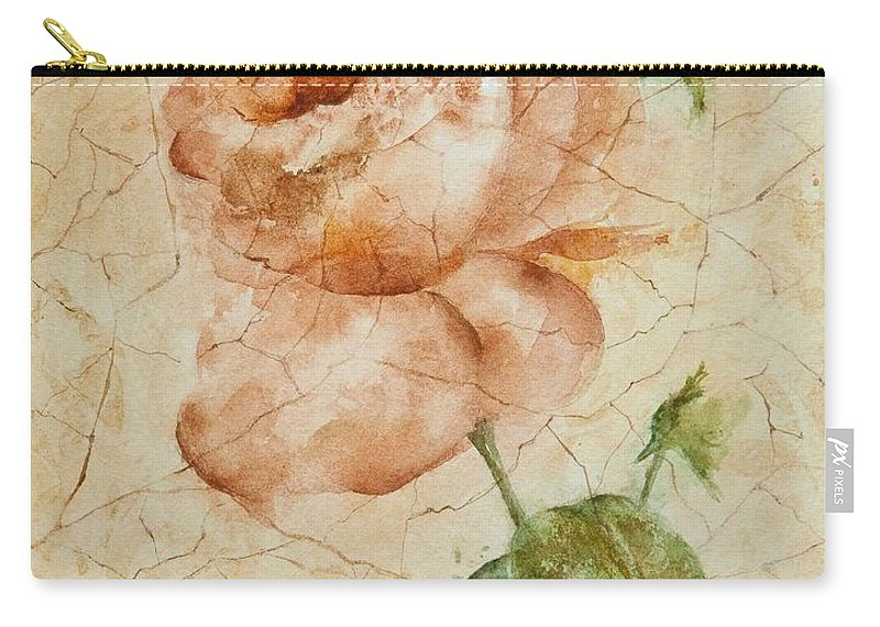 Rose Carry-all Pouch featuring the painting Antique Rose by Debbie Lewis