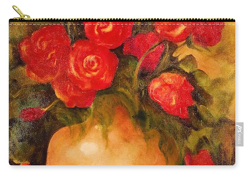 Pretty Carry-all Pouch featuring the painting Antique Roses by Jordana Sands