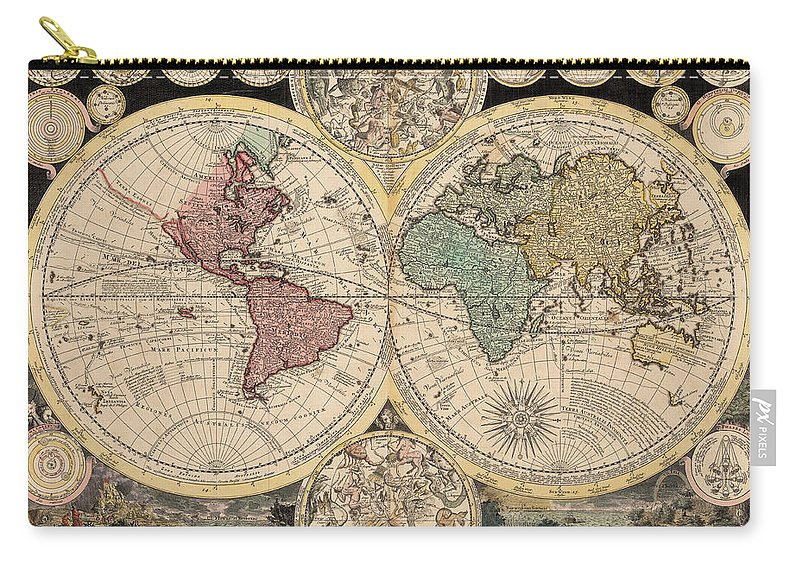 Antique World Map Carry All Pouch For Sale By Adam Friedrich Zurner