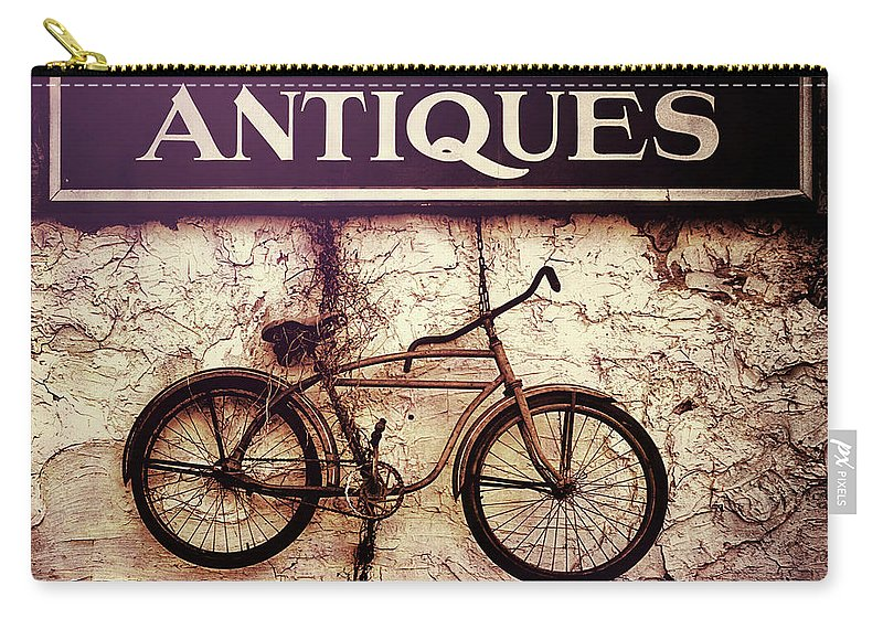 Antiques Carry-all Pouch featuring the photograph Antiques Old Bike by Bob Orsillo