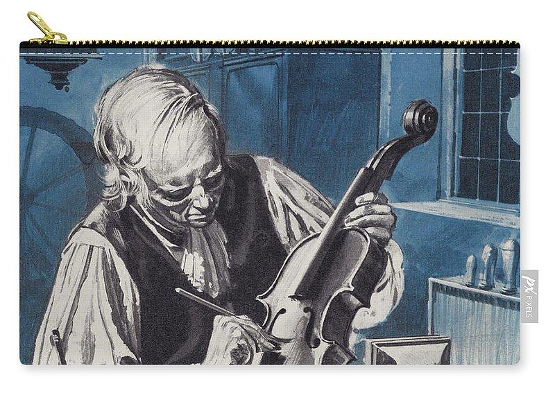 Antonio Stradivari Carry-all Pouch featuring the painting Antonio Stradivari by English School