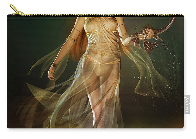 Dragon Carry-all Pouch featuring the digital art Aoife by Karen Koski