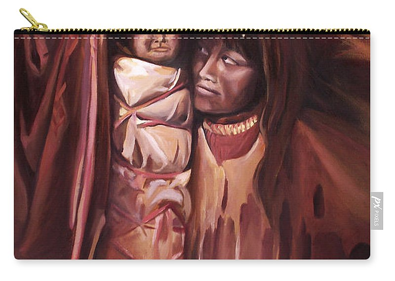 Native American Carry-all Pouch featuring the painting Apache Girl And Papoose by Nancy Griswold