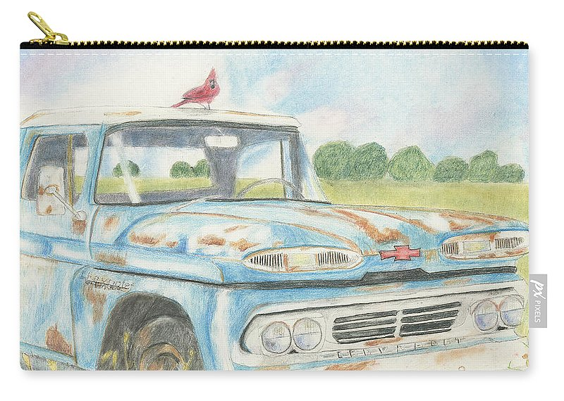 Apache Truck Carry-all Pouch featuring the drawing Apache Out To Pasture by Arlene Crafton