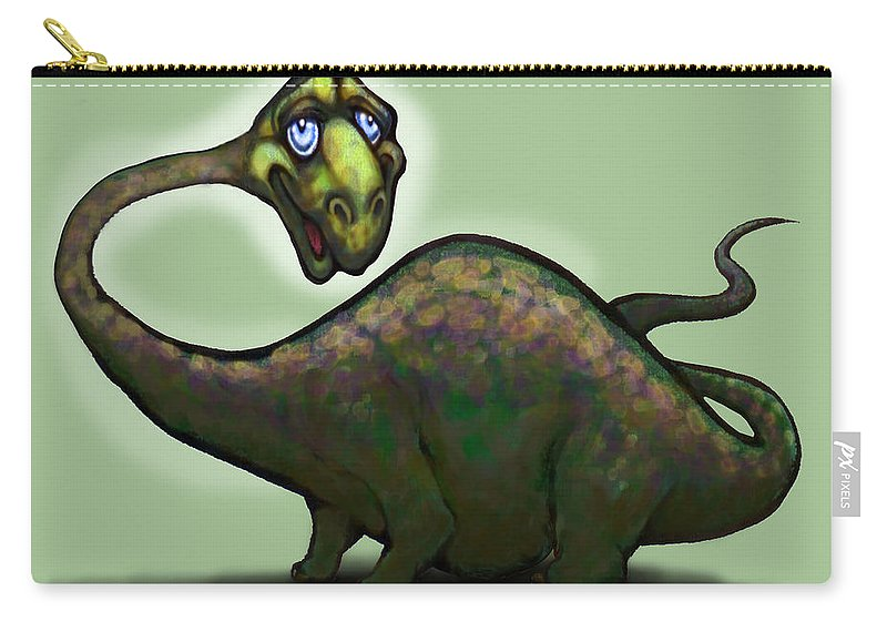 Apatosaurus Carry-all Pouch featuring the greeting card Apatosaurus Brontosaurus by Kevin Middleton