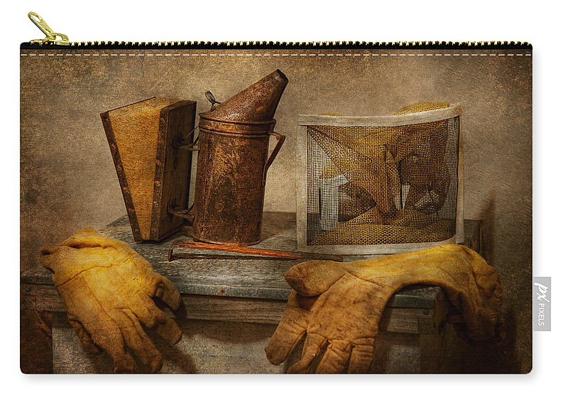 Beekeeper Carry-all Pouch featuring the photograph Apiary - The Beekeeper by Mike Savad