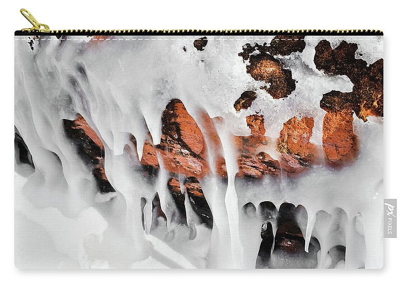 Apostle Islands National Lakeshore Carry-all Pouch featuring the photograph Apostle Islands Icicles Macro by Kyle Hanson