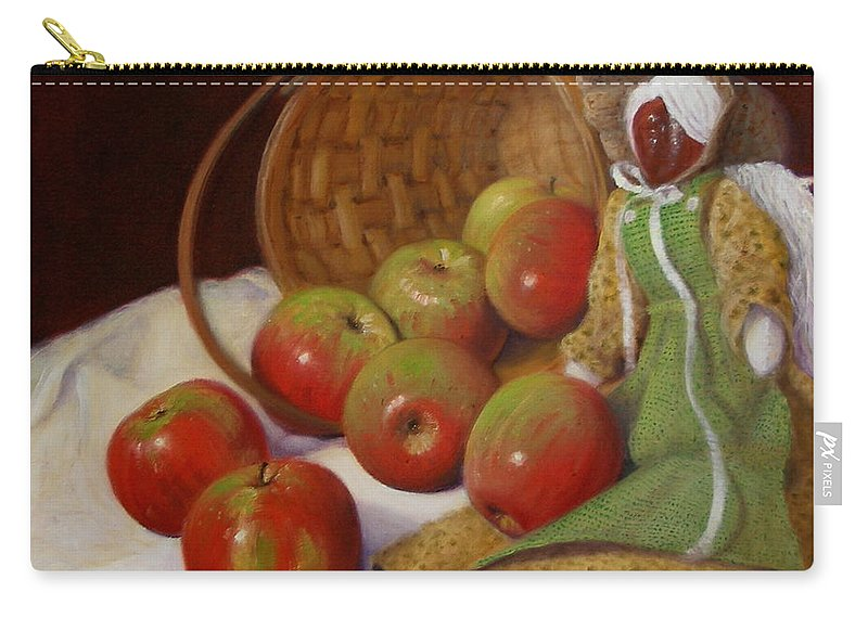 Realism Carry-all Pouch featuring the painting Apple Annie by Donelli DiMaria