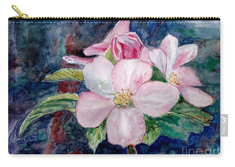 Flowers Carry-all Pouch featuring the painting Apple Blossom - Painting by Veronica Rickard