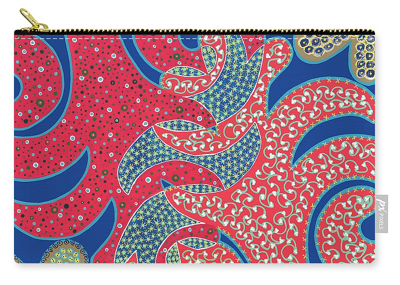 Abstract Carry-all Pouch featuring the painting Apple Tree And Cacti by Louise Hankes