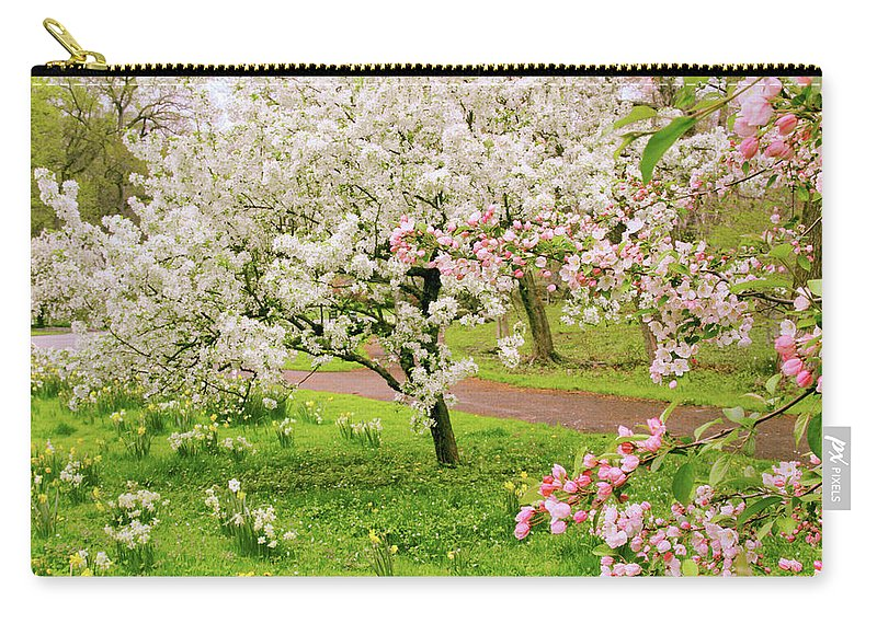 Apple Trees Carry-all Pouch featuring the photograph Apple Trees In Bloom by Jessica Jenney