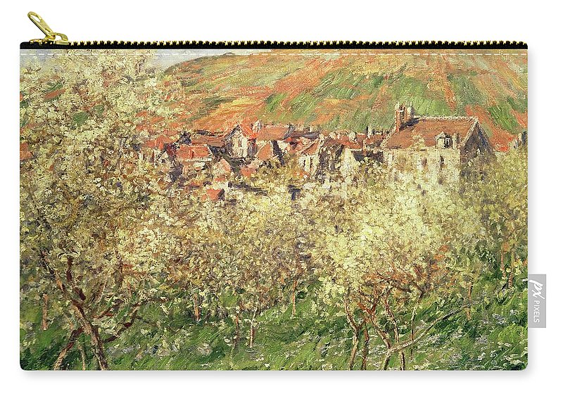 Monet Carry-all Pouch featuring the painting Apple Trees In Blossom by Claude Monet