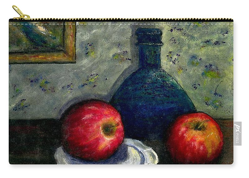 Still Life Carry-all Pouch featuring the painting Apples and Bottles by Gail Kirtz