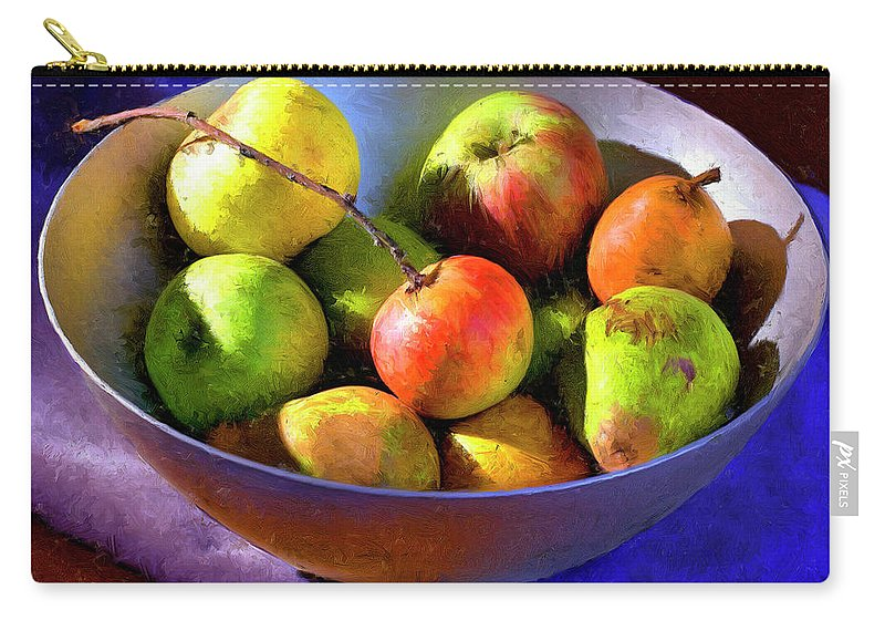 Apples Carry-all Pouch featuring the painting Apples And Pears by Dominic Piperata