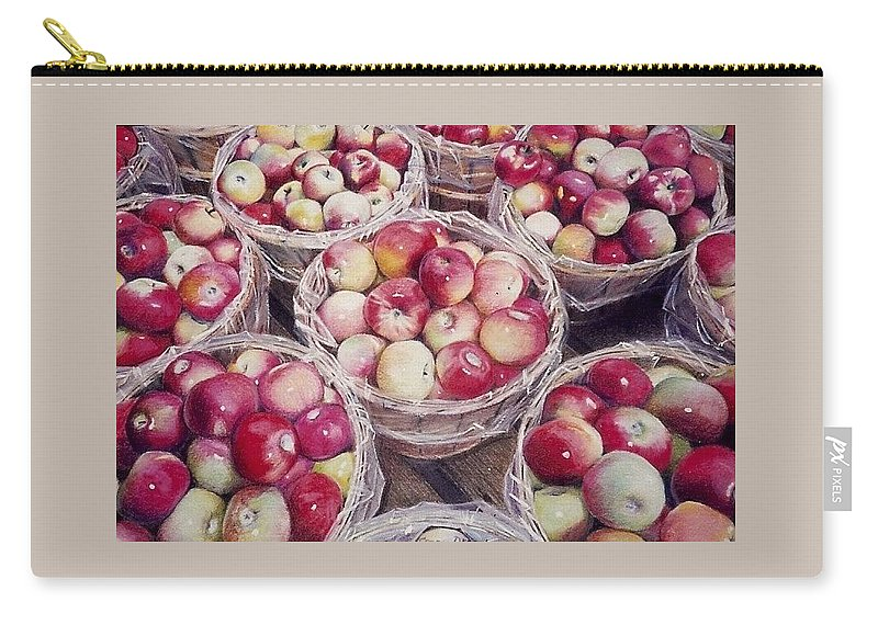 Red Carry-all Pouch featuring the painting Apples by Constance Drescher