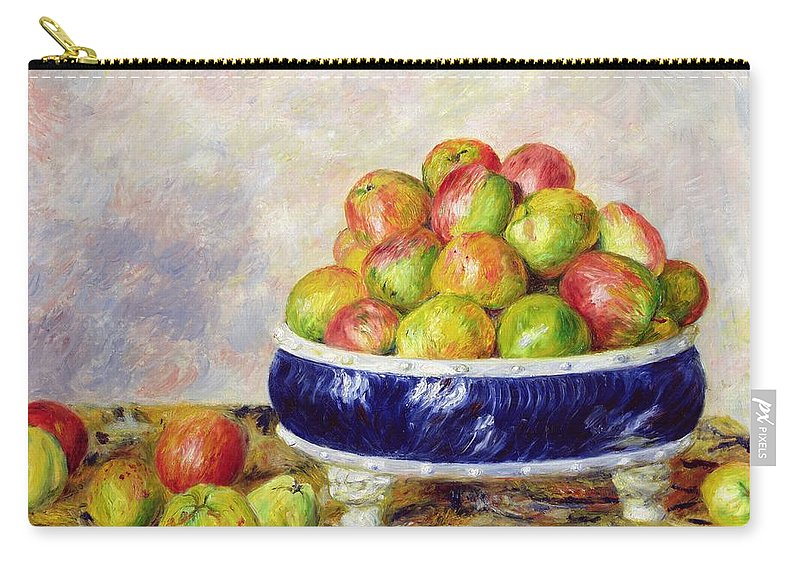 Pierre Auguste Renoir Carry-all Pouch featuring the painting Apples In A Dish by Pierre Auguste Renoir