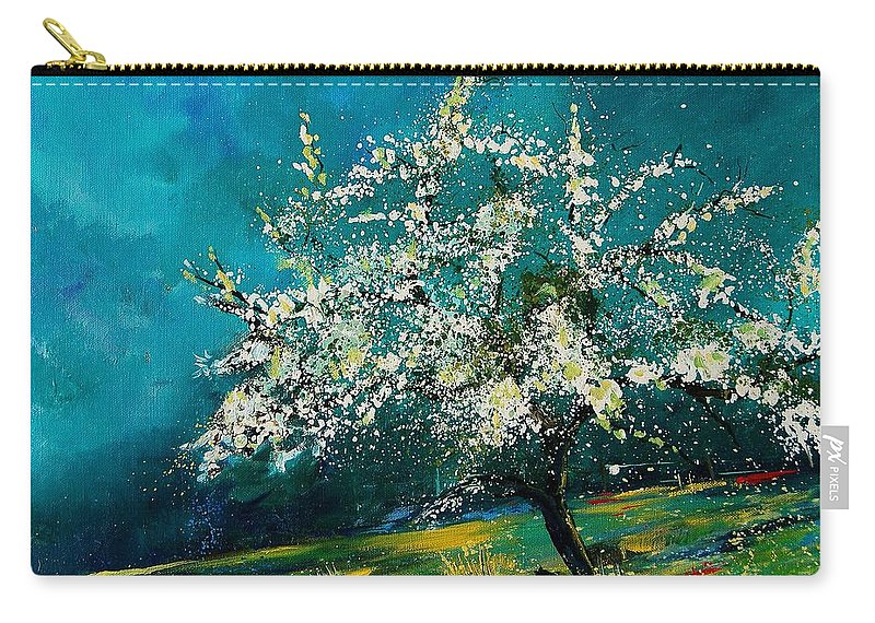 Spring Carry-all Pouch featuring the painting Appletree In Spring by Pol Ledent