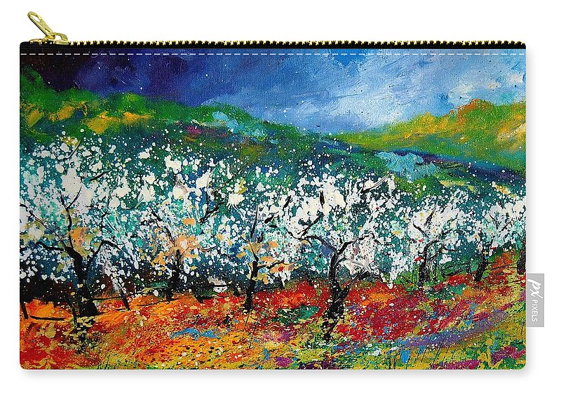 Spring Carry-all Pouch featuring the painting Appletrees 4509070 by Pol Ledent