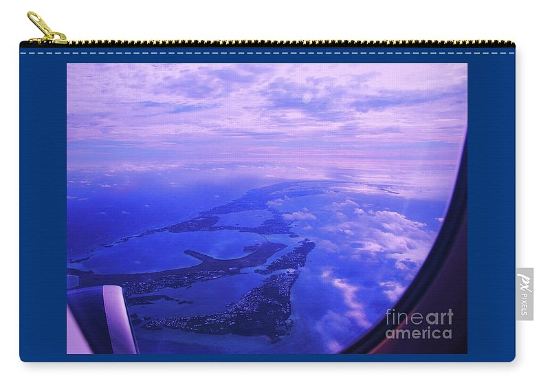 Aerial Art Bermuda Cloud Ocean Outdoors Serene Aviation Travel Destination Island Life Sky Through A Window Airplane Engine Metal Frame Canvas Print Poster Print Available On Pouches Tote Bags Phone Cases Weekender Tote Bags T Shirts Shower Curtains Throw Pillows Mugs Duvet Covers And Mugs Carry-all Pouch featuring the photograph Approaching Bermuda by Marcus Dagan