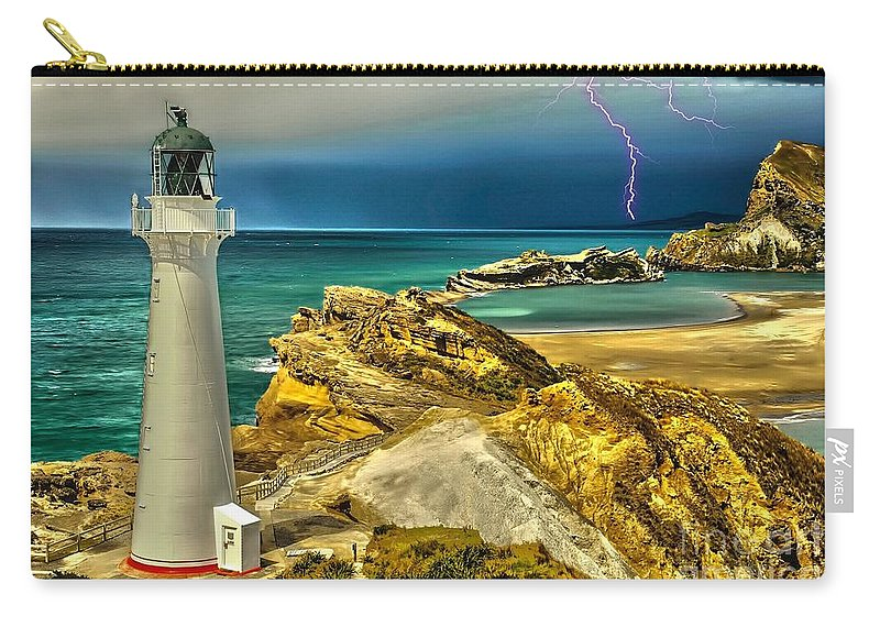 Lighthouse Carry-all Pouch featuring the digital art Approaching Storm 2015 by Kathryn Strick