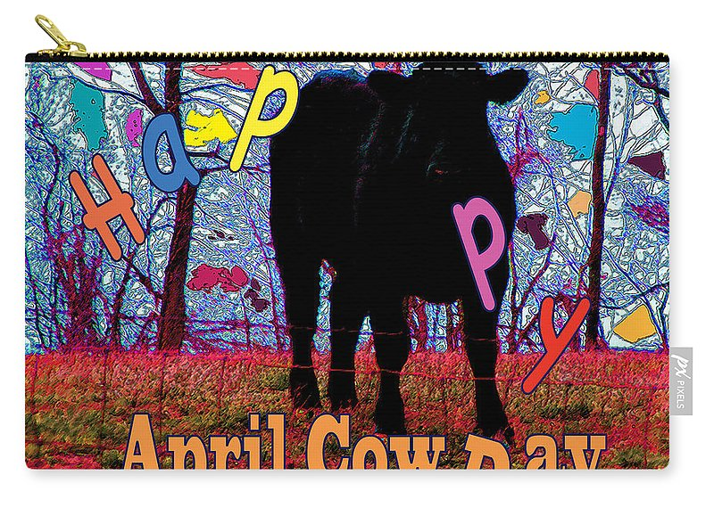 Abstract Carry-all Pouch featuring the digital art April Cow Day by Rachel Christine Nowicki