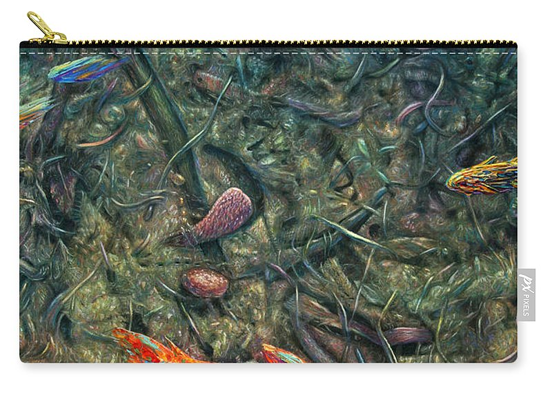 Aquarium Carry-all Pouch featuring the painting Aquarium 2 by James W Johnson