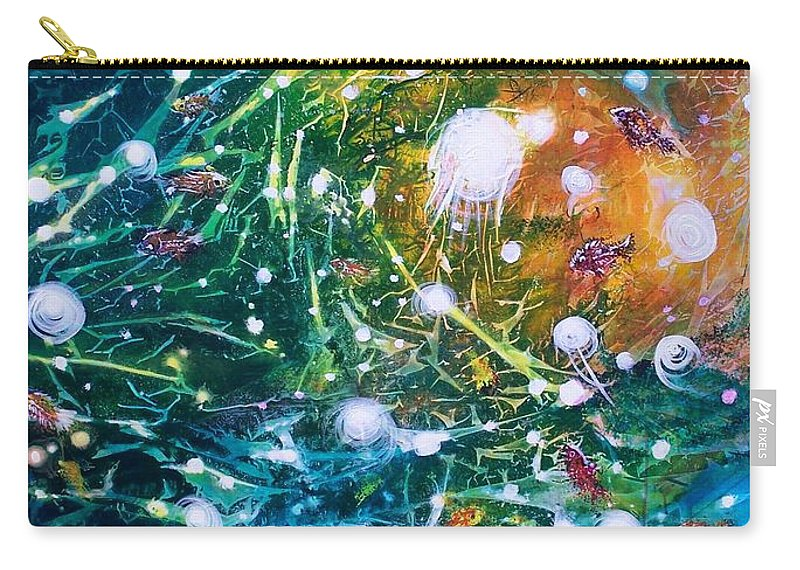 Abstracts Carry-all Pouch featuring the painting Aquarium Galaxy by David Ackerson