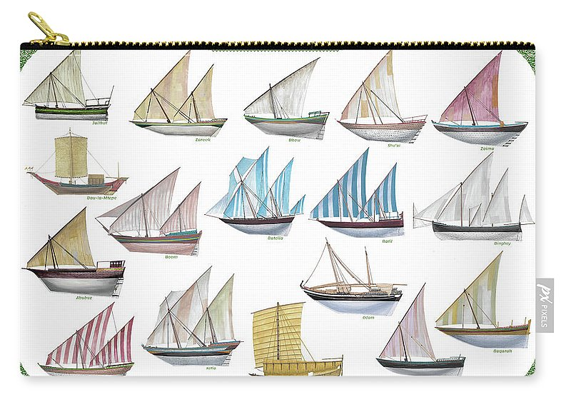 Boat Carry-all Pouch featuring the painting Arab and Indian trade ships by The Collectioner