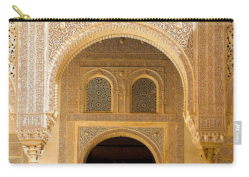 Cuarto Carry-all Pouch featuring the photograph Arabesque Ornamental Designs At The Casa Real In The Nasrid Palaces At The Alhambra by Mal Bray