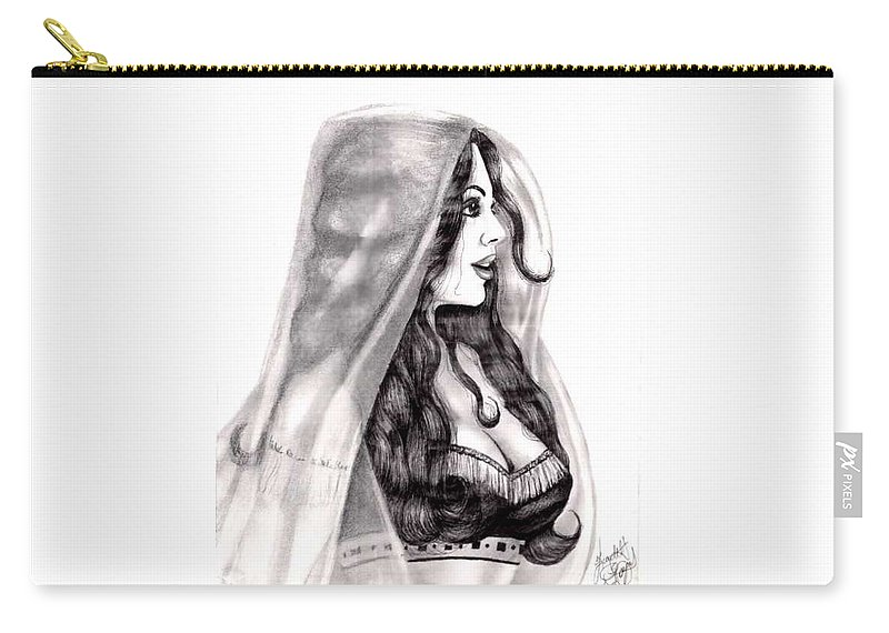 Figure Carry-all Pouch featuring the drawing Arabian Beauty by Scarlett Royal