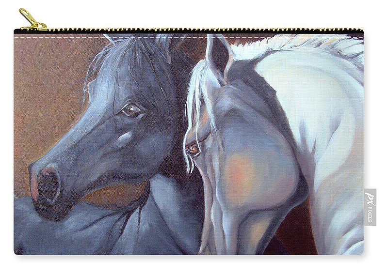 Equestrian Art Carry-all Pouch featuring the painting Arabique by Portraits By NC