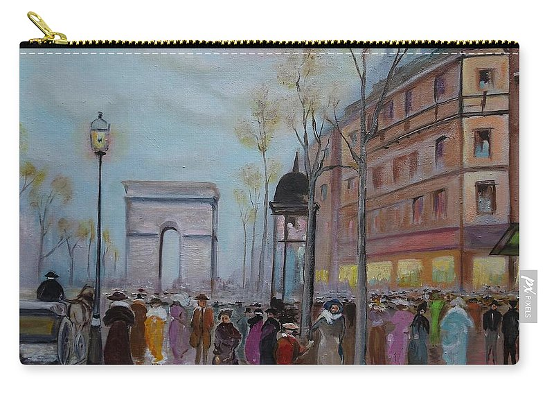 Paris Carry-all Pouch featuring the painting Arc De Triompfe - Lmj by Ruth Kamenev