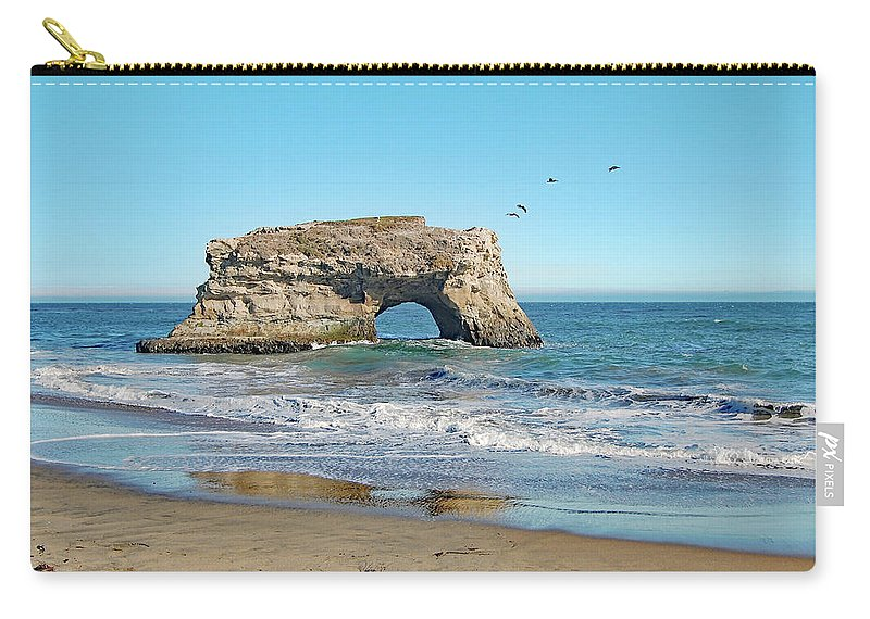 Arch Carry-all Pouch featuring the photograph Arch In The Sea With Pelicans Flying By, At Natural Bridges State Beach, Santa Cruz, California by Mihaela Nica