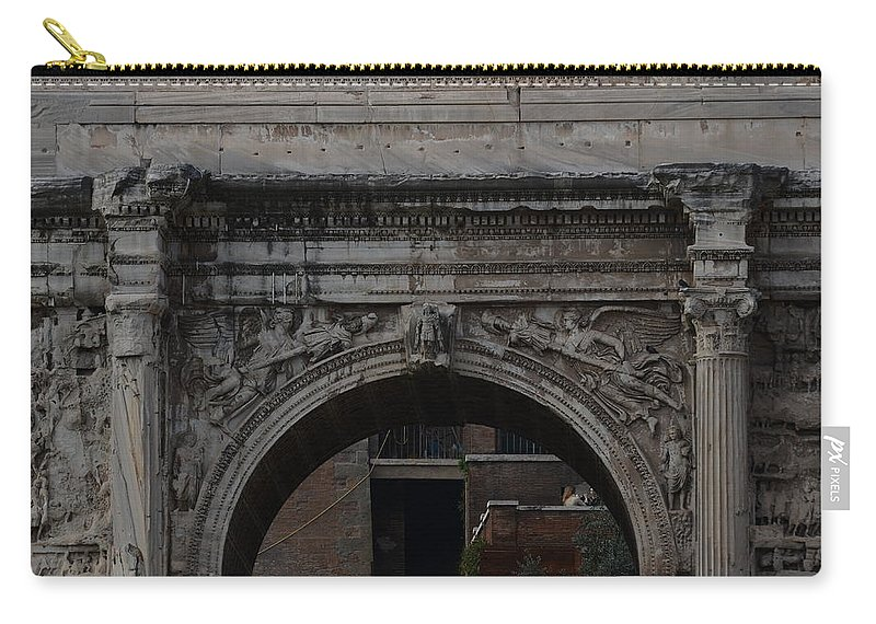 Arch Of Septimius Severus Carry-all Pouch featuring the photograph Arch Of Septimius Severus by Tammy Mutka