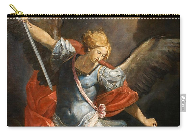 Realism Carry-all Pouch featuring the painting Archangel Michael by Darko Topalski