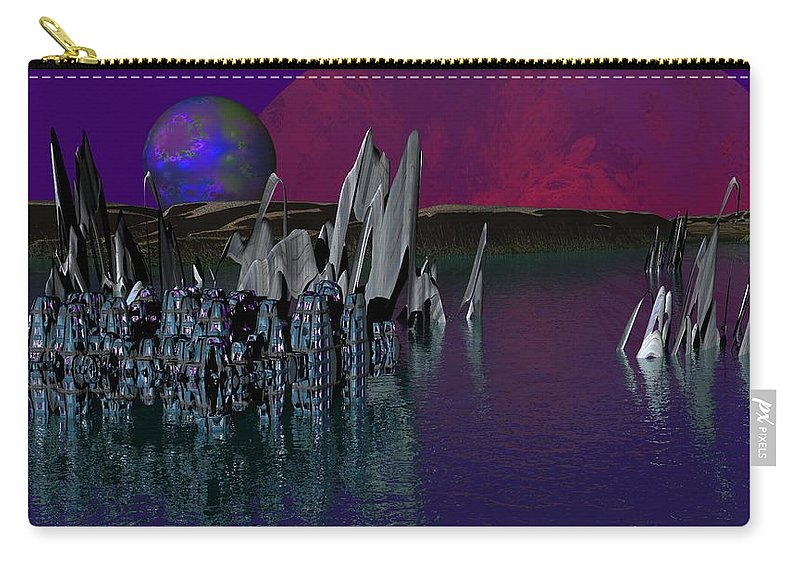 Fantasy Carry-all Pouch featuring the digital art archeological Station on ERIDANUS Beta by David Lane