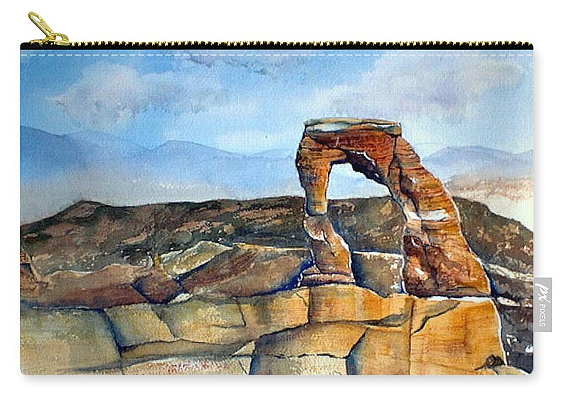 Arches National Park Carry-all Pouch featuring the painting Arches National Park by Debbie Lewis