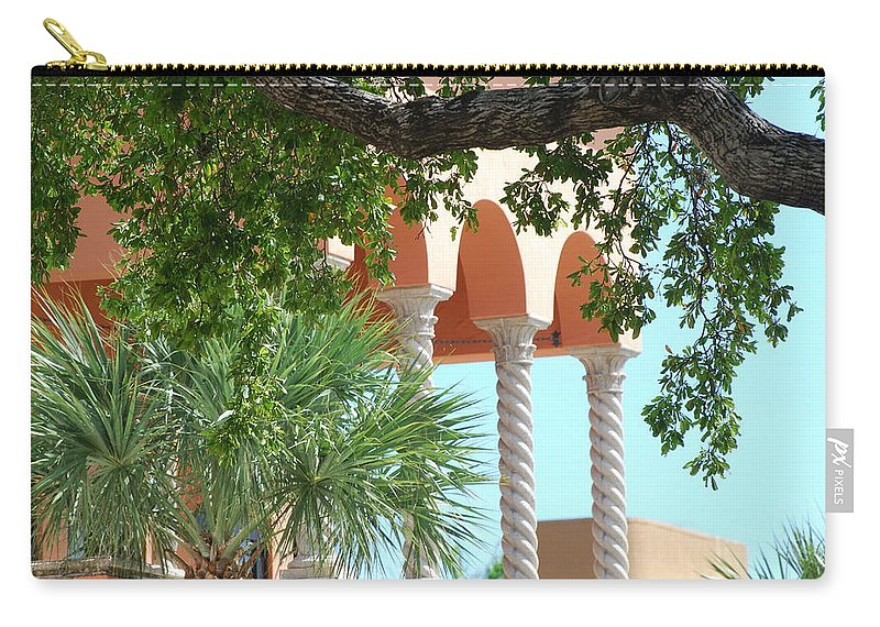 Architecture Carry-all Pouch featuring the photograph Arches Thru The Trees by Rob Hans