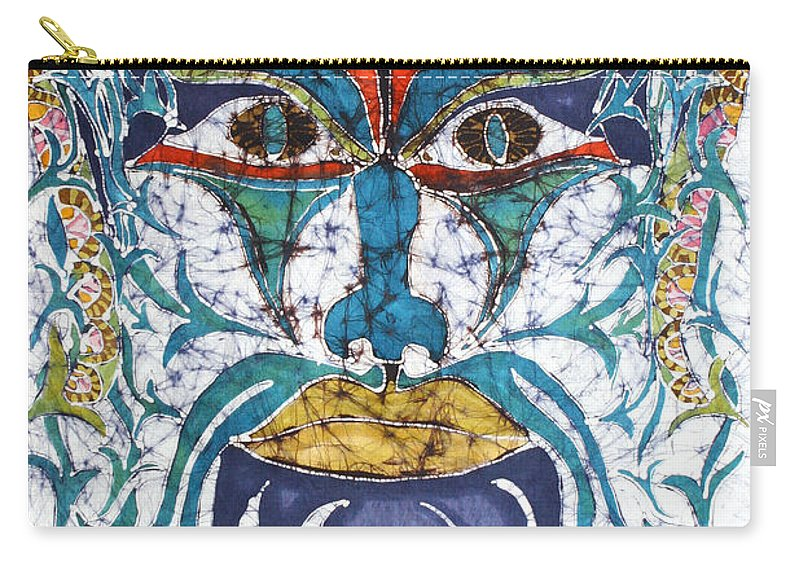 Batik Wax Carry-all Pouch featuring the tapestry - textile Archetypal Mask by Carol Law Conklin