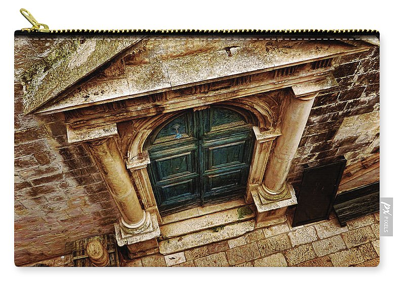 Travel Carry-all Pouch featuring the photograph Architectural Green Door Dibrovnik by Peter Hogg