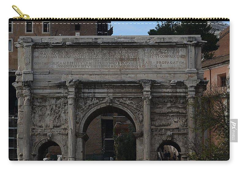 Arco Di Settimio Severo Carry-all Pouch featuring the photograph Arco Di Settimio Severo by Tammy Mutka
