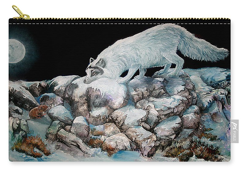 Fox Carry-all Pouch featuring the painting Arctic Encounter by Sherry Shipley