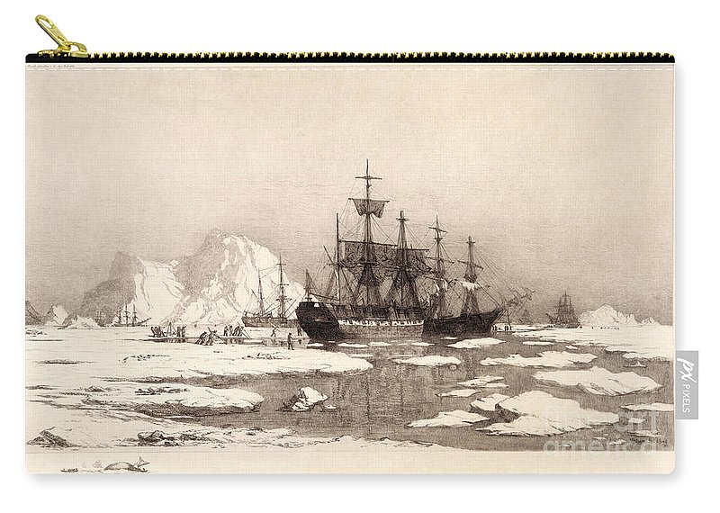 1890 Carry-all Pouch featuring the drawing Arctic Ocean by Granger