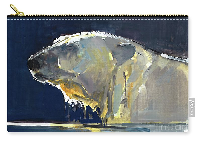 Polar Bear Carry-all Pouch featuring the painting Arctic Silhouette by Mark Adlington